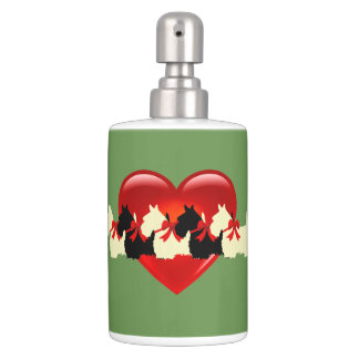 Scottish Terrier, red heart, sage green Soap Dispenser And Toothbrush Holder