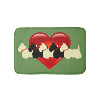 Scottish Terrier/red heart/Sage/zazzle green Bath Mat