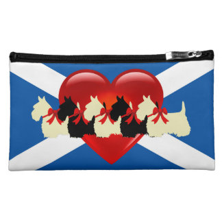 Scottish Terrier, red heart, Saint Andrews flag Cosmetic Bag