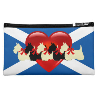 Scottish Terrier, red heart, Saint Andrews flag Makeup Bag