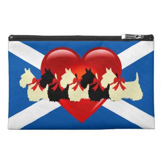 Scottish Terrier, red heart, Saint Andrews flag Travel Accessory Bag