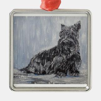 Scottish Terrier Rescue Silver-Colored Square Ornament