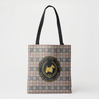 Scottish Terrier Ringside Yourberry Plaid Tote Bag
