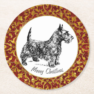 Scottish Terrier Round Paper Coaster