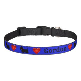 Scottish Terrier, Scottie, blue, red heart Pet Collar
