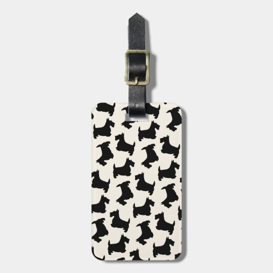 Scottish Terrier Scottie Dog Pattern Black Bag Tag