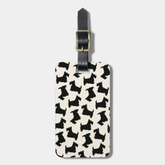 Scottish Terrier Scottie Dog Pattern Black Luggage Tag
