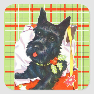 Scottish Terrier Scottie with green plaid stickers