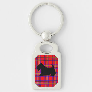 Scottish Terrier Scotty Dog Keyring Gift Silver-Colored Rectangle Keychain