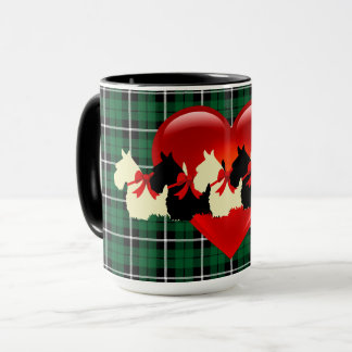 Scottish Terrier silhouette, Kelly green plaid Mug