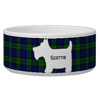 Scottish Terrier Silhouette on Black Watch Tartan