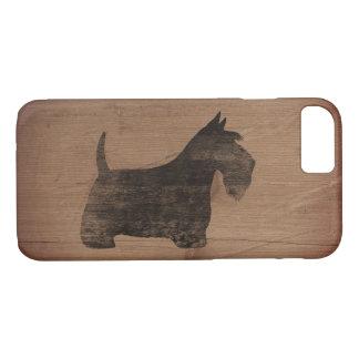 Scottish Terrier Silhouette Rustic iPhone 7 Case