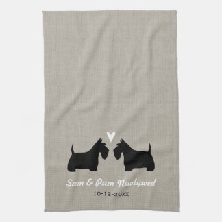 Scottish Terrier Silhouettes with Heart and Text Kitchen Towel