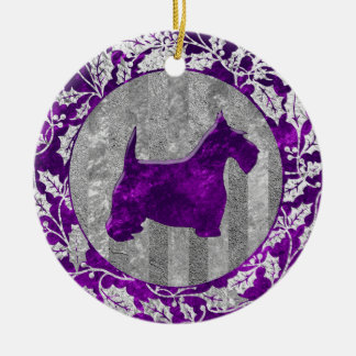 Scottish Terrier Silver Purple Glass Look Round Ceramic Ornament
