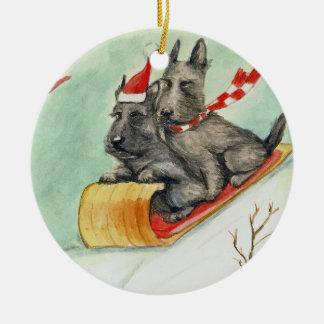 Scottish Terrier Sleigh Ride Art Ornament