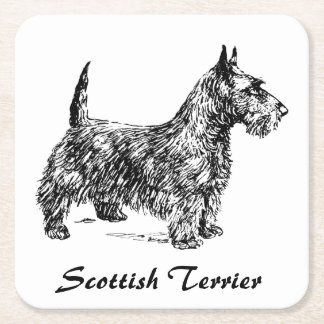 Scottish Terrier Square Paper Coaster