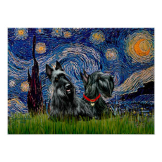 Scottish Terrier (two black) - Starry Night Poster