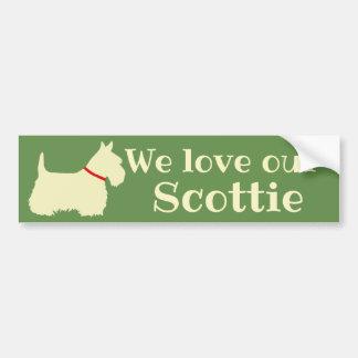 Scottish Terrier, We love our Scottie/wheaten/red Bumper Sticker