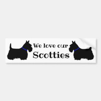 Scottish Terrier, We love our Scotties/blue collar Bumper Sticker
