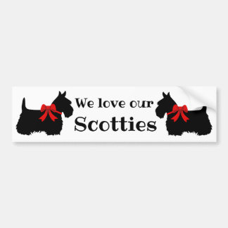 Scottish Terrier, We love our Scotties/red bow Bumper Sticker