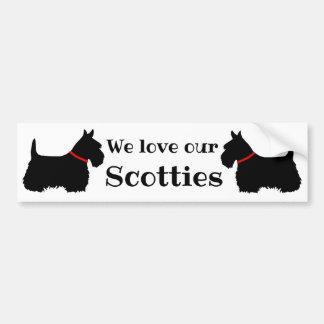 Scottish Terrier, We love our Scotties/red collar Bumper Sticker