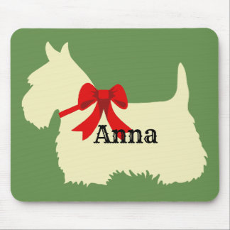 Scottish Terrier wheaten silhouette, Island green Mouse Pad