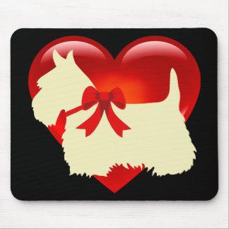 Scottish Terrier wheaten silhouette, Island green Mouse Pad
