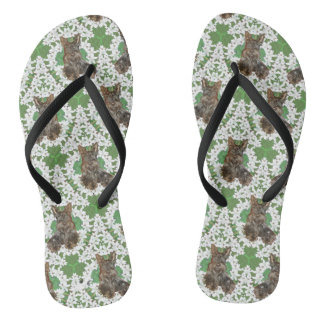 Scottish Terrier white Flowers Flip Flops