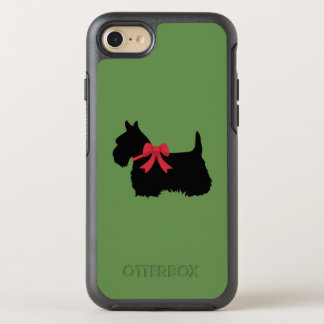 Scottish terrier with red bow silhouette OtterBox symmetry iPhone 8/7 case