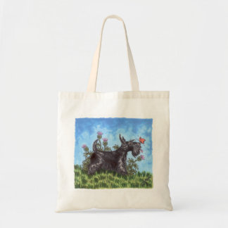 Scottish terrier with thistles tote