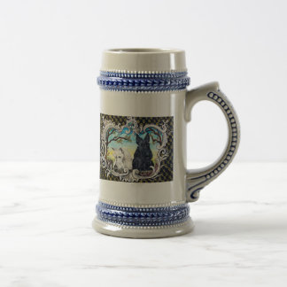 Scottish Terriers and Frog Beer Stein
