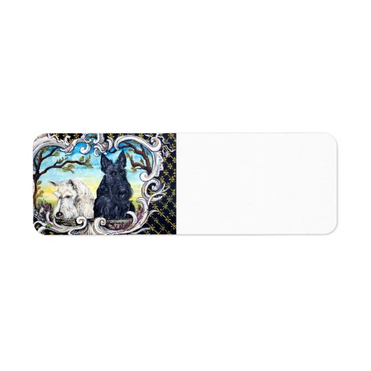 Scottish Terriers and Frog Return Address Label