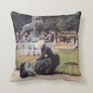 Scottish Terriers Enjoy the Park Throw Pillow
