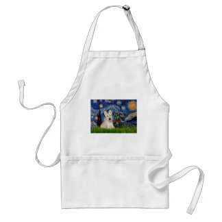 Scottish Terriers (two-BW) - Starry Night Standard Apron