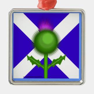 Scottish Thistle and Flag Silver-Colored Square Ornament