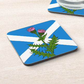 Scottish thistle beverage coasters