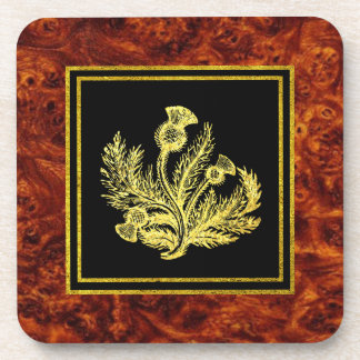 Scottish Thistle Burl Pattern Coaster