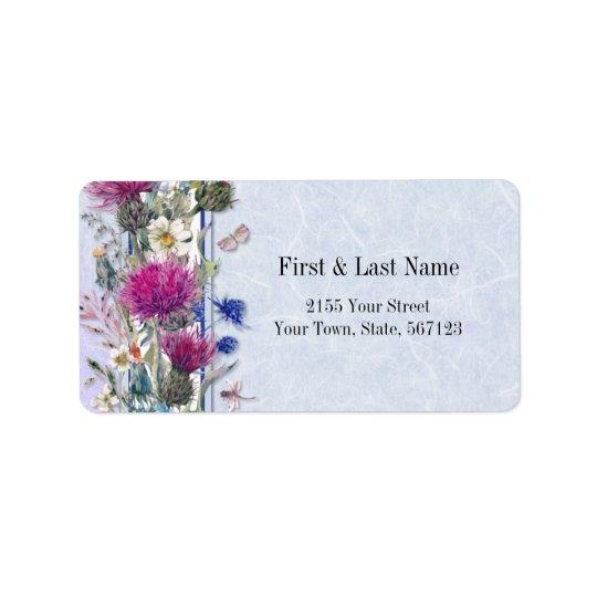 Scottish Thistle Floral Wedding Label