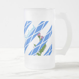 Scottish thistle frosted glass beer mug