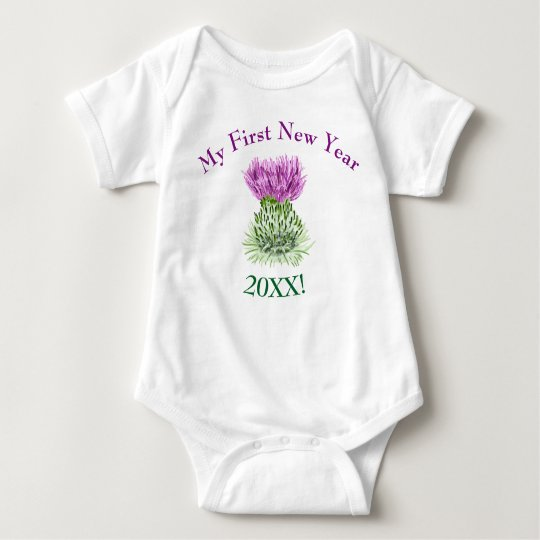 Scottish Thistle, My First New Year Greeting Baby Bodysuit