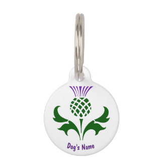 Scottish Thistle Personalize Pet Name Tag
