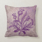 Scottish Thistle Purple Celtic Knot Throw Pillow
