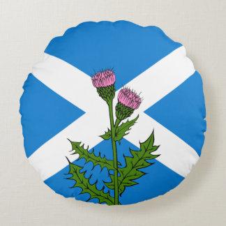 Scottish thistle round pillow