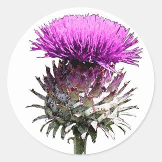 Scottish Thistle Round Sticker
