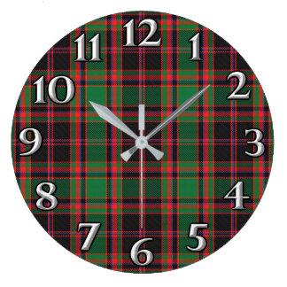 Scottish Time Accents Clan Cumming Hunting Tartan Large Clock