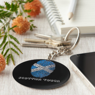 Scottish touch fingerprint flag basic round button keychain