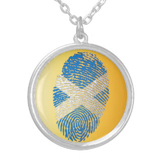 Scottish touch fingerprint flag silver plated necklace