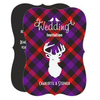 Scottish Wedding Tartan Plaid Stags Head Script Card