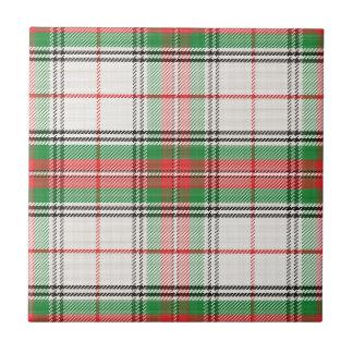 Scottish White, Red & Green Plaid Tartan Tile