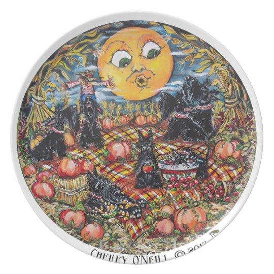 ScottishTerrier Halloween Picnic Plate
